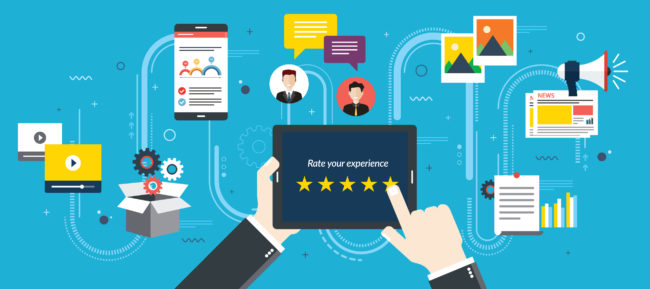 Rating system on tablet screen with stars. Feedback and qualification in chat, social media, marketing, video, market online, photos and email in flat design vector illustration.